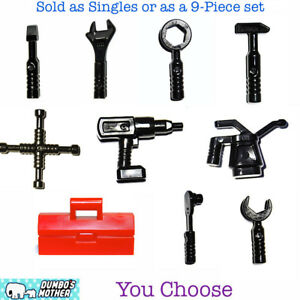 Lego Minifigure Tools 9 piece Toolbox Mechanic Wrench Screwdriver Drill Hammer