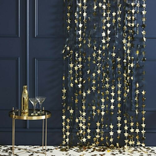 Gold Star Garland Christmas Decorations Foil Curtain Backdrop Party Wedding