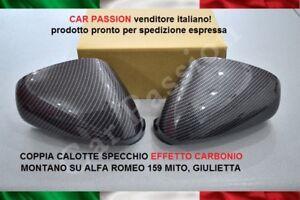CALOTTE-SPECCHIO-ALFA-ROMEO-MITO-GIULIETTA-159-CARBON-LOOK-STEMMA-LOGO-COPPIA