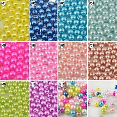 100//500pcs Mixed Imitative Pearl Resin Round Beads Eco-friendly Material 8mm