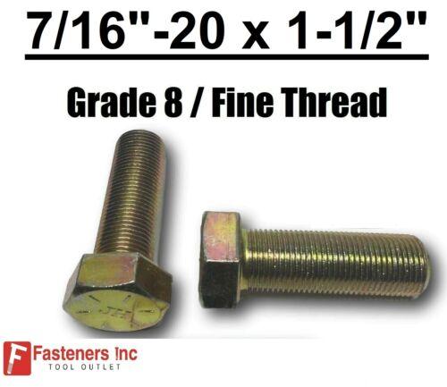 """Hex Bolt Yellow Zinc Plated Grade 8 Cap Screw Fine Thread 7//16-20 x 1-1//2/"""" FT"""