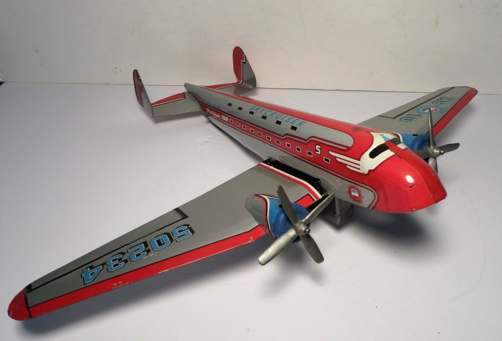Early Marx Toys Friction STRATOLINER 700 SKYCRUISER RED AIRPLANE 50s RARE