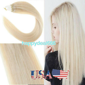 Loop-Micro-Ring-Beads-Link-Remy-Human-Hair-Extensions-Platinum-Blonde-18Inch100S