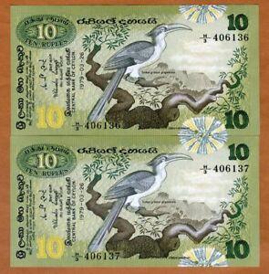 SET-Sri-Lanka-Ceylon-2-x-10-Rupees-1979-P-85-UNC-gt-Consecutive-Pair