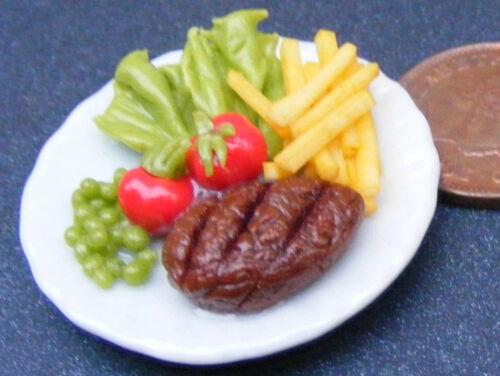 1:12 Maßstab Steak /& Pommes Salat Auf 3.5cm Keramikplatte Tumdee Puppenhaus Food