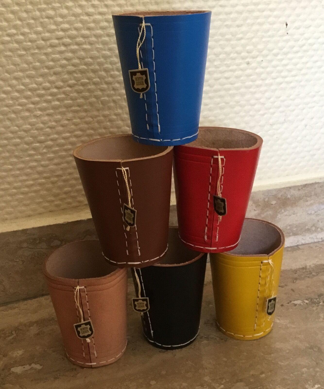 Würfelbecher Knobelbecher SET Echt Leder Handgefertigt Massive Qualität Leder