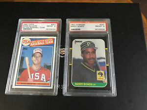 Mark-McGwire-85-Topps-and-Barry-Bonds-87-Donruss-This-Is-a-2-card-PSA-8-lot