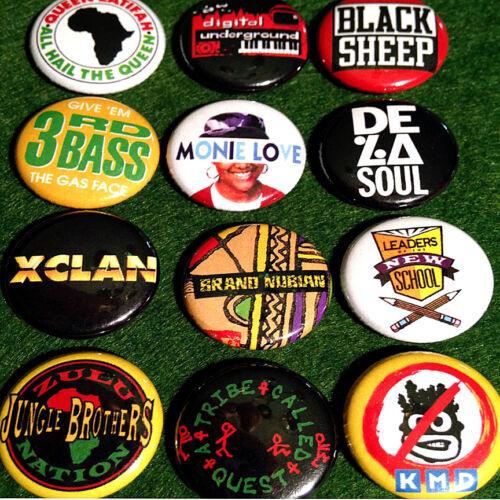 "12 Golden Era Hip Hop 1/"" Buttons A Tribe Called Quest De La Soul MF Doom Q-Tip"