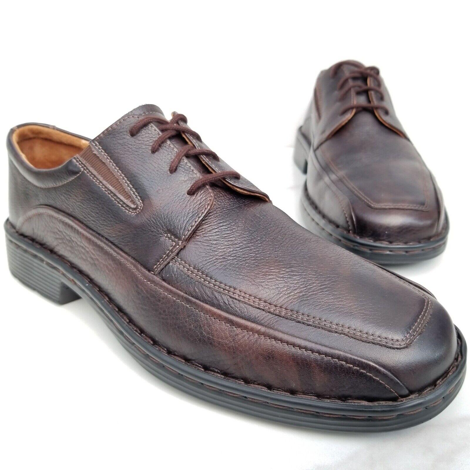 Josef Seibel Brown Leather Oxfords Casual Comfort shoes Bike Toe Mens 43 9-9.5