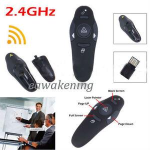 2.4GHz Wireless USB PowerPoint PPT Remote Control Laser Pointer Pen Presenter EA