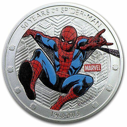 Spider man Silver Coin 3D Comic Book Super Hero Animation Cartoon Web Stan Lee