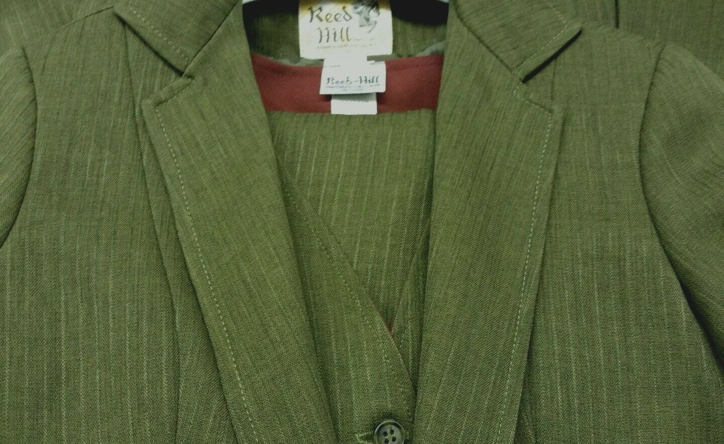 Reed Hill Ladies 3 piece Saddleseat  suit Olive Green Pin polyester size 8 - USA  latest styles