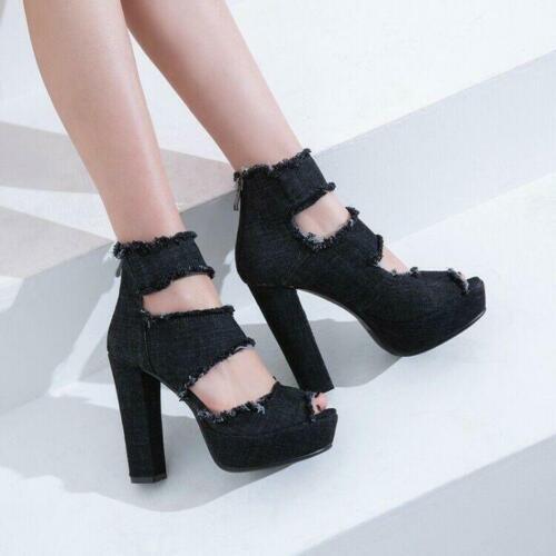 Details about  /Fashion Womens Sandals Denim Platform Super High Chunky Heel Sandals Zip Shoes