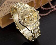 GOLD Geneva Chronograph Designer Style Ladies Womens Crystals Bling Watch Free