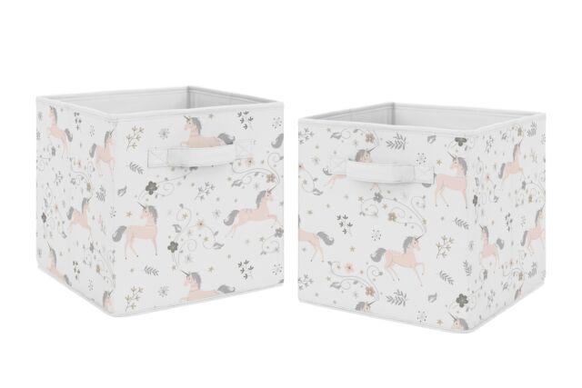 Merveilleux Pink Grey And Gold Unicorn Foldable Fabric Storage Cube Bins Boxes   2pc Set