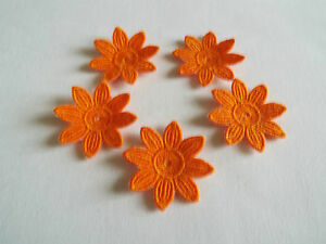 Iron on sew on orange guipure lace applique daisy flower
