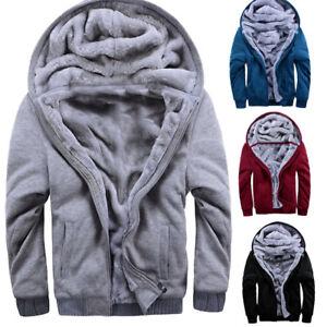 US-Men-039-s-Fur-Lined-Winter-Hoodie-Jacket-Sherpa-Fleece-Hooded-Sweater-Coat-Parka