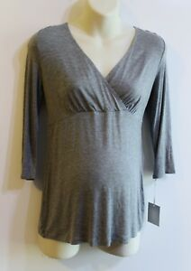 A-Glow-Maternity-Nursing-Top-Size-M-Gray-Cross-Over-Surplice-Wrap-Retail-30-NEW