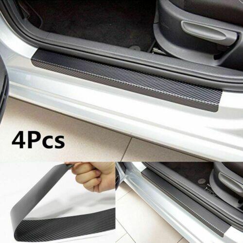4pcs black Carbon Fiber Car Scuff Plate Door Sill 5D Sticker Panel Protector