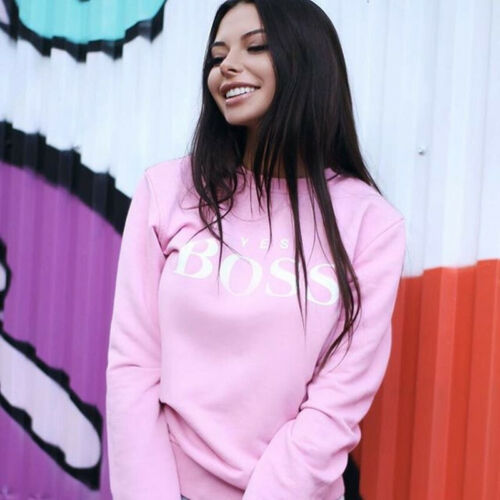 Women Pullover Yes Boss Letter Printed Sweatshirt Long Sleeve O Neck Warm