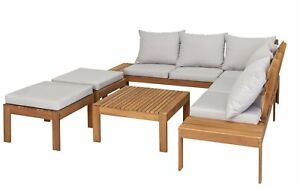 Details About Argos Home 8 Seater Wooden Corner Sofa Garden And Patio Set With Coffee Table