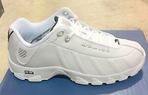 K-Swiss-White-Black-Silver-Model-ST329-Mens-Memory-Foam-CMF-Shoes-Sizes