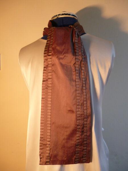 100% Seda Para Hombre Cravat/scarf Taupe Con Taupe/brown Estrecho Pliegues Nuevo-ver