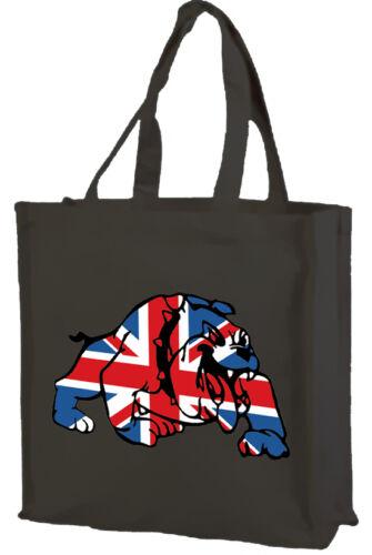 Colours: Black Union Jack Bulldog Cotton Bag Best of British Cream