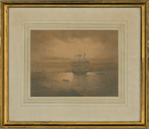 Early 20th Century Graphite Drawing - Ghostly Vessel