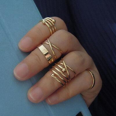 Celebrity 6Pcs/Set Midi Above Knuckle Joint Rings Band Gold Tip Finger Biker