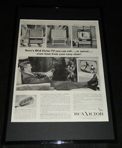 1955-RCA-Victor-TV-Television-Framed-ORIGINAL-11x17-Advertising-Display