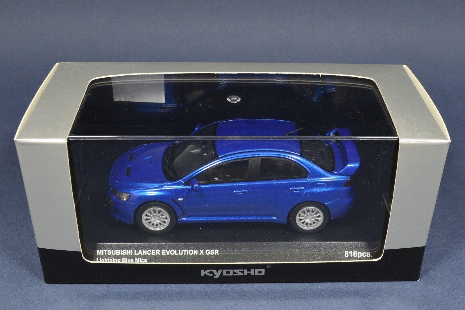 1 1 1 43 Mitsubishi Lancer Evolution X GSR bluee EVO 10 Kyosho 03492BL LIMITED 816pcs 32145e