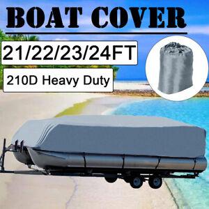 21-24FT Boat Cover Waterproof Trailerable Pontoon Heavy Duty Marine Beam 102/'/'