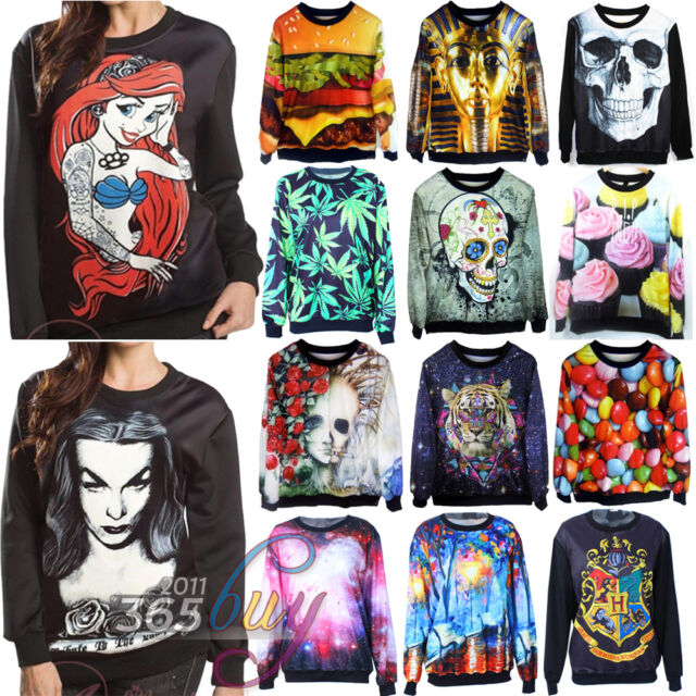 2016 Womens 3D Print Space Galaxy T shirt Sweater hoodie Pullover Tops Tracksuit