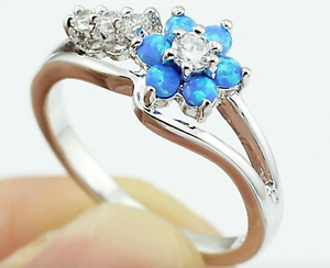 8bae12e143c2a Details about Sterling Silver Blue Fire Opal Flower Ring Made with  Swarovski Crystals