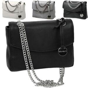 ESPRIT-Damen-Leder-Handtasche-klein-Metall-Kette-Schulter-Abend-Mini-Tasche-Neu