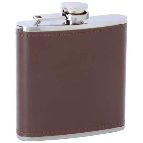 6oz Brown Solid Genuine Leather Stainless Steel FLASK Screw Cap Hip Pocket Drink