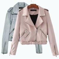 Womens Faux Suede leather Biker Motorcycle Short Jacket Coat