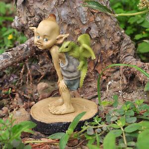 Miniature FAIRY GARDEN Figurine ~ Mini Pixie with Baby Dragon on Wood Stump NEW