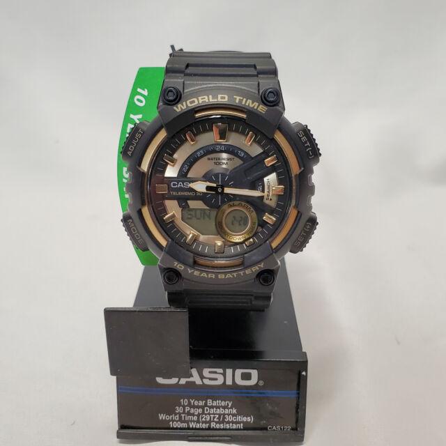 Casio Quartz World Time 50mm Watch AEQ110BW-9AV-10 Yr Battery 30 Pg Data