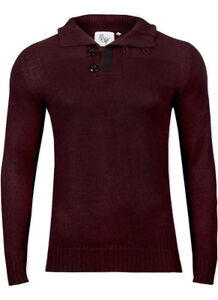 Five-Wolfs-Mens-High-Neck-Red-Knitted-Jumper-Size-Small