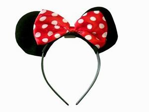 Kids-Girls-Children-Minnie-Mouse-Fluffy-Ears-Red-Silk-Bow-Head-Alice-Band-Gift