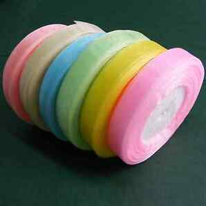 Sheer Organza Ribbon PASTEL PACK 6x 50yds rolls 10mm or 15mm  - Fast & Free Post