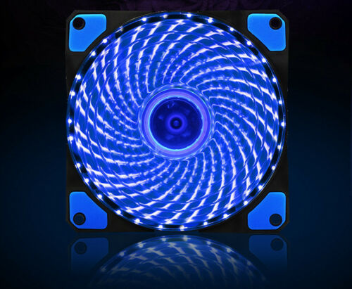 Silent 120mm PC Computer Case Fan CPU Cooling Quad 15-LED 9-Blade 12cm 4Pin 3Pin