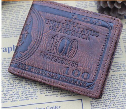 Mens Short Dollar Bill Wallet Bilfold Leather Purse Handbags Card Holder Bag Q