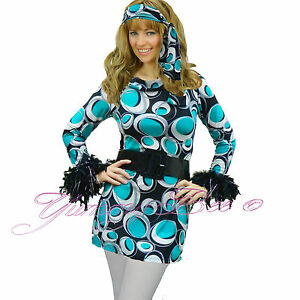 Fancy-Dress-Costume-Hippy-Womens-70s-60s-Hippie-Plus-Size-Disco-Go-Flower-Power