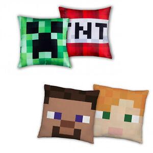 Minecraft-Steve-Alex-Creeper-TNT-Kissen-Dekokissen-beidseitig-Pillow-40-x-40-CM