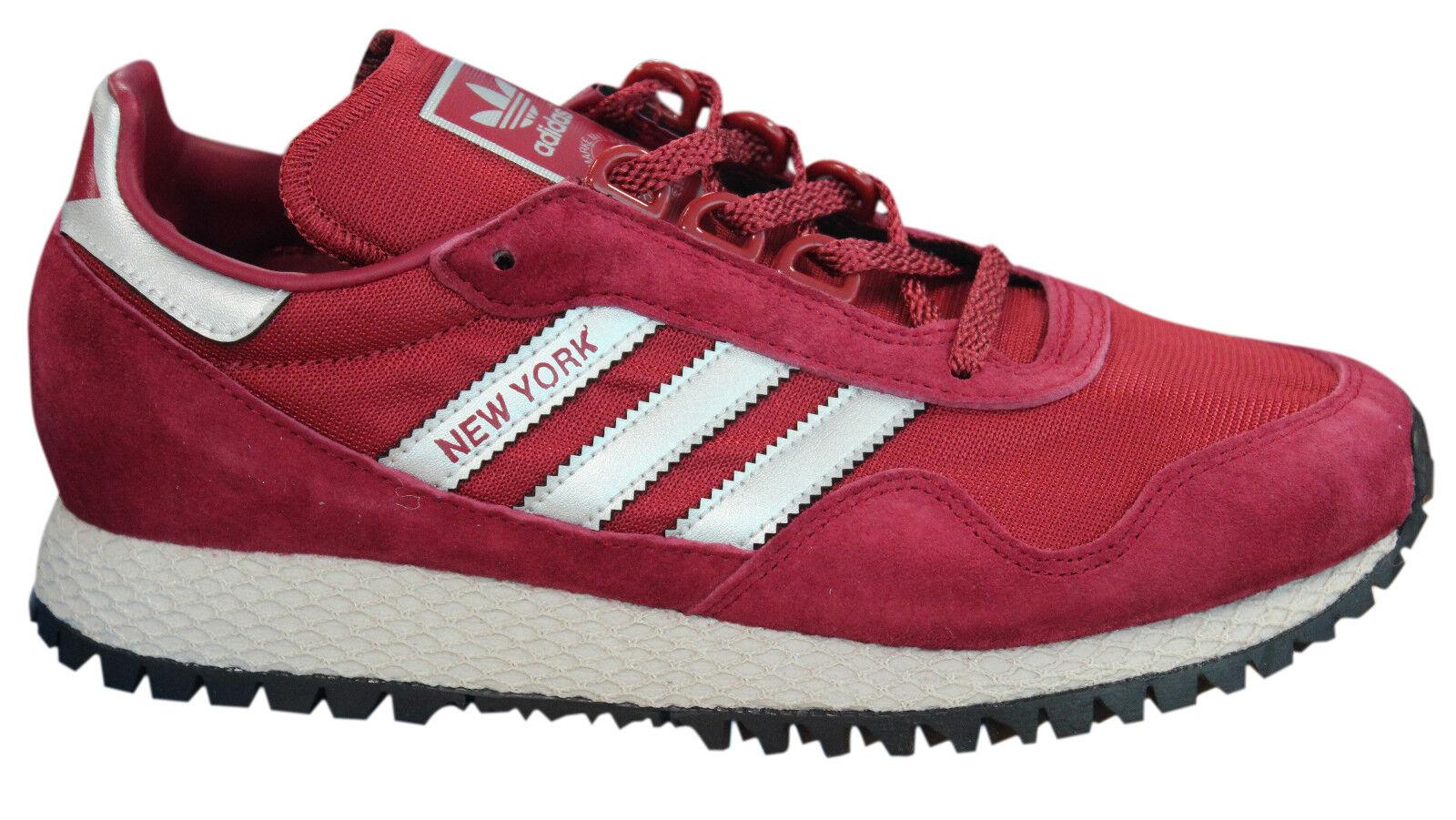 Adidas Originals Nueva York Zapatillas Hombre Zapatos con Cordones Burdeos Malla