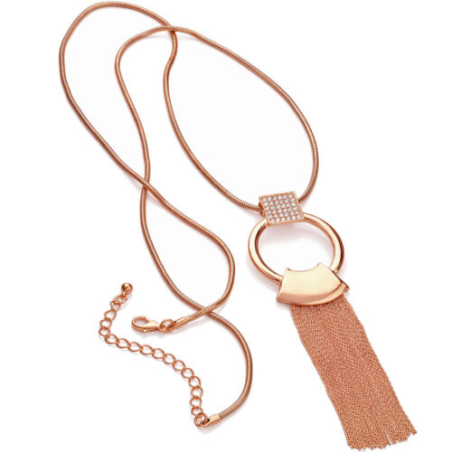 Stunning rose gold crystal ring loop chain tassel 100cm long length necklace