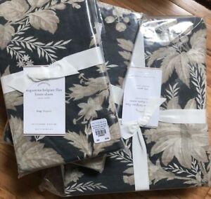 Pottery Barn Loretta Duvet Cover Green King 2 Euro Shams Floral Belgian Flax New